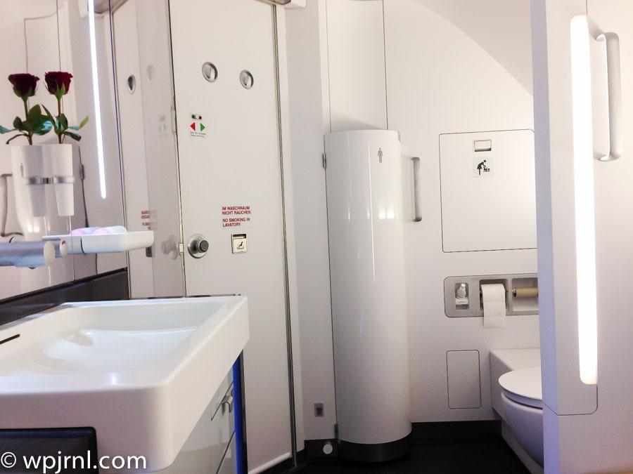Lufthansa A380 Bathroom in First Class - A380 Bathroom First